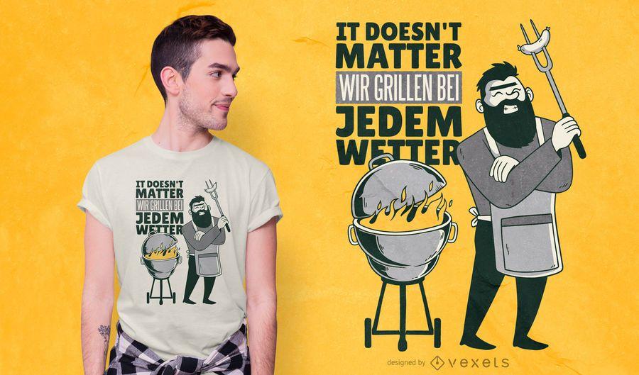 Diseño de camiseta de cita alemana de barbacoa