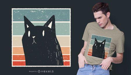 Diseño de camiseta de estilo retro de gato