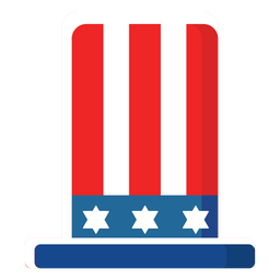 American top hat flat icon