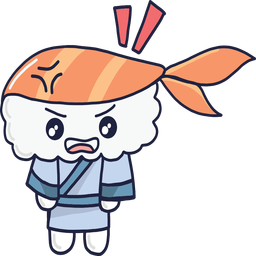 Angry kawaii sushi boy cartoon