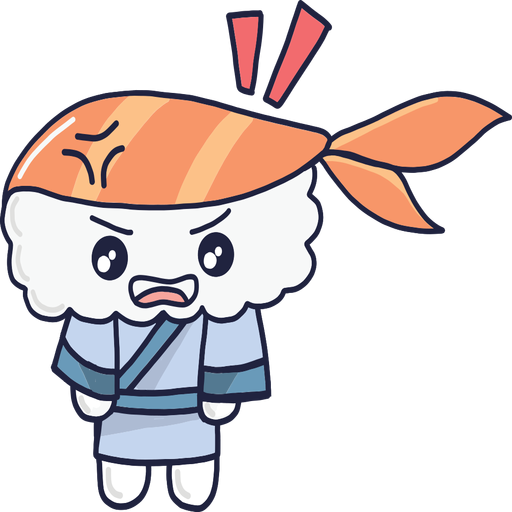 Angry kawaii sushi boy cartoon Transparent PNG