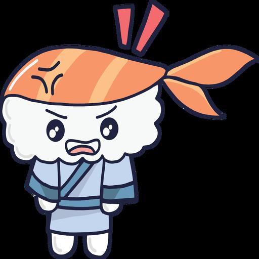 Dibujos animados enojado kawaii sushi boy