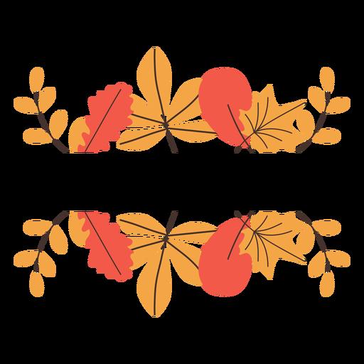 Autumn leaves border elements Transparent PNG