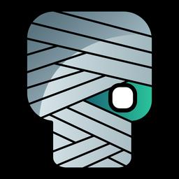 Ícone de desenho animado cabeça zumbi enfaixado