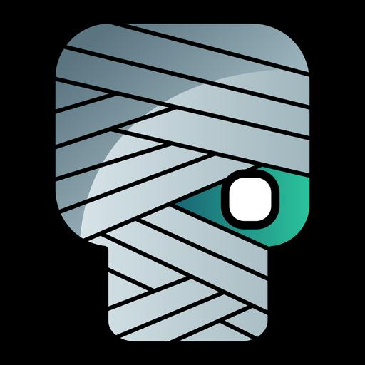 Icono de dibujos animados cabeza zombie vendada Transparent PNG