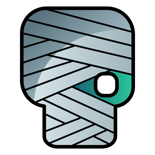 Icono de dibujos animados de cabeza de zombie vendado