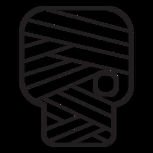 Icono de línea de cabeza de zombie vendado