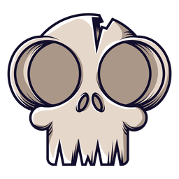 Big eyes skull icon cartoon
