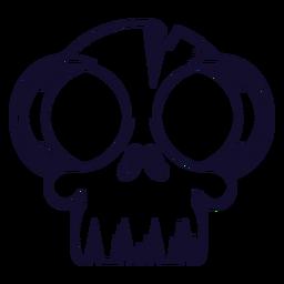 Big eyes skull icon line