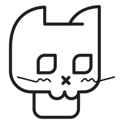 Black cat avatar line icon