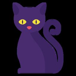 Gato negro plano halloween