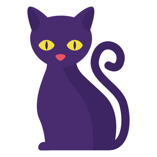 Black cat flat halloween Transparent PNG