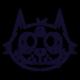 Línea de icono de cabeza de gato negro