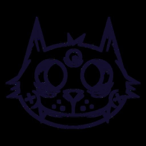 Black cat head icon line