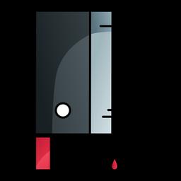 Icono de dibujos animados de cuchillo de cuchilla sangrienta
