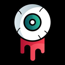 Icono de dibujos animados de globo ocular sangriento