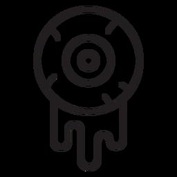 Ícone da linha do globo ocular sangrento