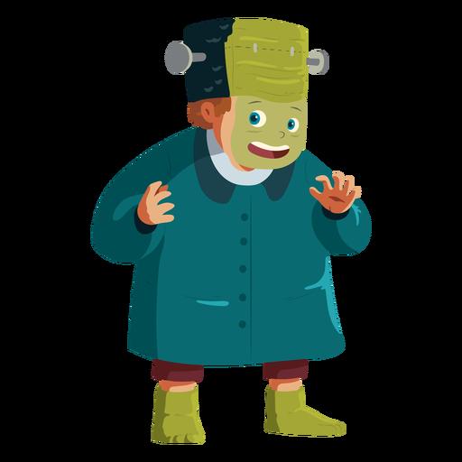 Boy wearing frankenstein costume