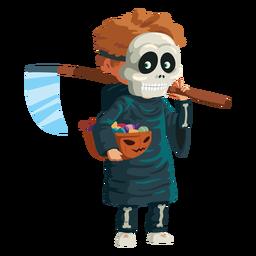 Boy wearing grim reaper costume
