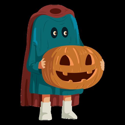 Boy wearing headless horseman costume
