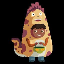 Niño con traje de monstruo nessie