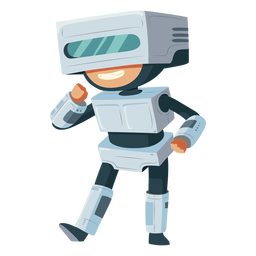 Junge, der Roboterkostüm trägt