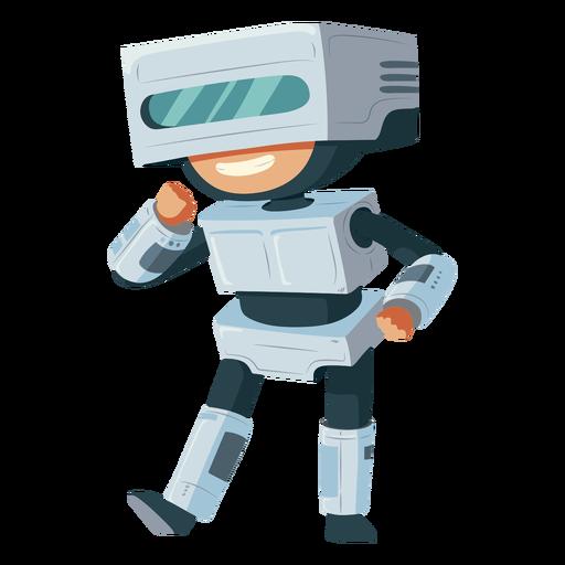 Boy wearing robot costume