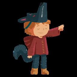 Niño llevando lobo disfraz
