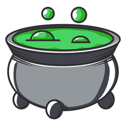 Bubbling cauldron icon cartoon