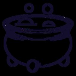 Línea de icono de caldero burbujeante