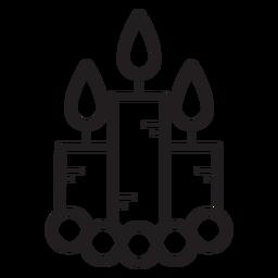 Icono de línea de velas encendidas