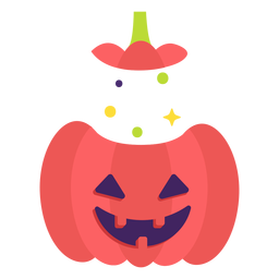 Carved pumpkin flat halloween