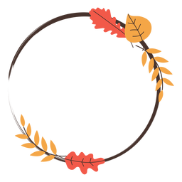 Circle autumn leaves frame