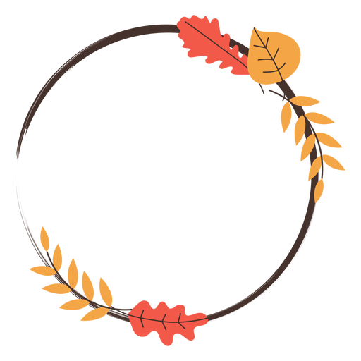Circle autumn leaves frame