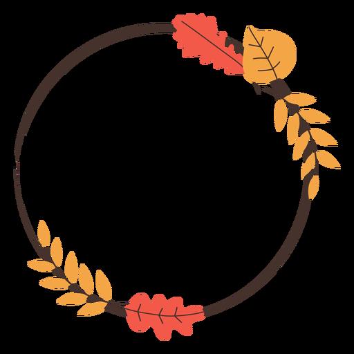 Marco de hojas de otoño de círculo