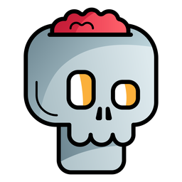 Crack skull cartoon icon