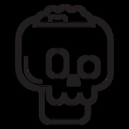 Crack skull line icon