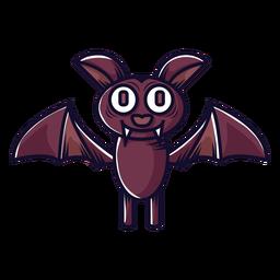 Lindo pequeño icono de dibujos animados de murciélago