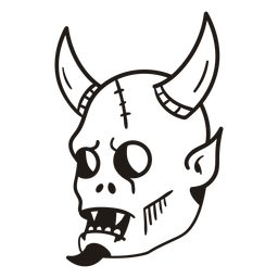 Diabo cabeça mão desenhada silhueta