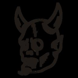 Silueta dibujada a mano cabeza del diablo