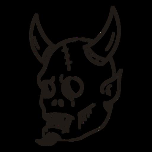 Silhueta desenhada à mão da cabeça do diabo