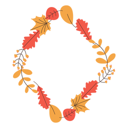 Diamond shape autumn leaves frame