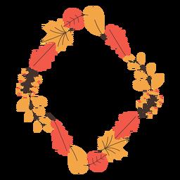Diamond shape autumn leaves frame