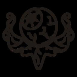 Silhueta desenhada de mão nojento globo ocular