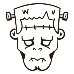 Cabeza de Frankenstein silueta dibujada a mano