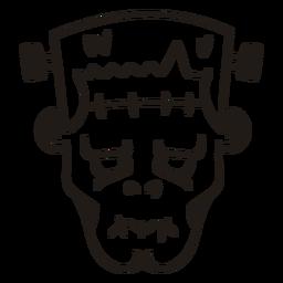 Silhueta desenhada mão de cabeça de Frankenstein