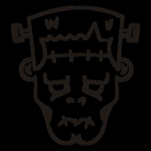 Frankenstein head hand drawn silhouette Transparent PNG