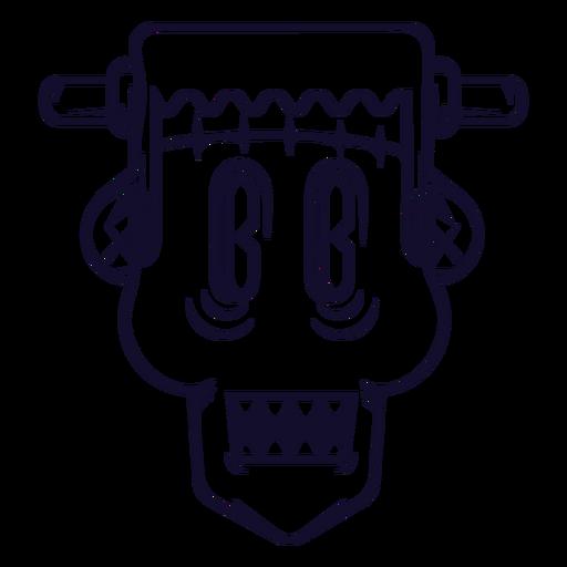 Línea de icono de cabeza de Frankenstein