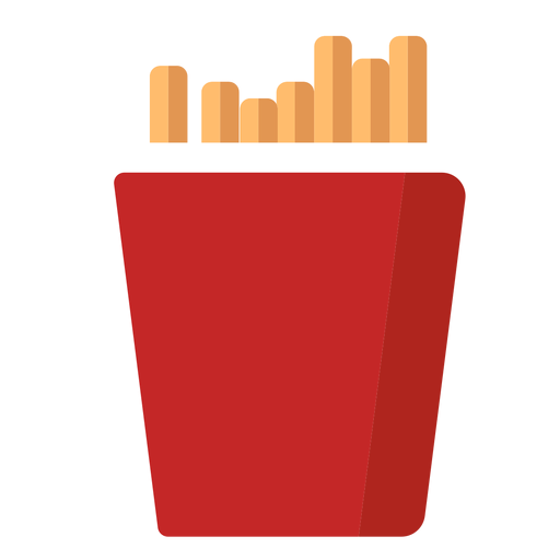 Icono plano de papas fritas