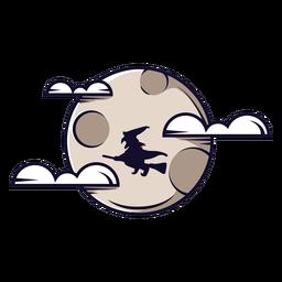 Dibujos animados icono de nubes de luna llena